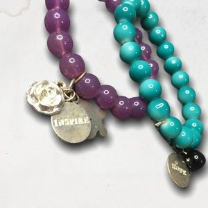 Set Of 2 Beaded Bracelets With Charms
